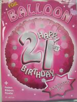 """Pink Sparkle Happy 21st Birthday 18"""" Helium Foil Balloon Party Decorations"""