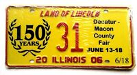 Illinois 2006 County Fair Old License Plate Garage Special Event Car Tag 150 Yrs