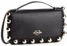 NEWT 100% AUTH LOVE MOSCHINO BLACK ECO LEATHER & GOLD  W STRAP  BAG PURSE
