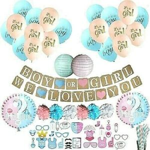 Gender Reveal Party Supplies | Premium Complete 87 Pc Baby Shower Decoration Kit