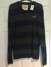 Hollister Grey & Blue Striped Pullover Jumper Size Small Brand New with Tags