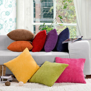 Corduroy Striped Cushion Cover Soft Square Sofa Pillow Case Living Room Bedroom