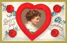 VALENTINE HOLIDAY CHILD HEARTS FLOWERS ENVELOPE EMBOSSED POSTCARD 1115 (c. 1909)
