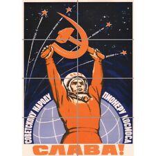 "Propaganda Cosmonaut Gagarin Ussr Red Communism Wall Art Panel Poster 33X47"""