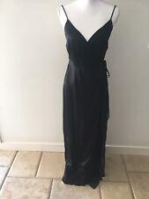 BCBG MAX AZRIA Dress Satin Chiffon Wrap Evening Dress full length Blck Sz 4 NWOT