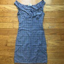 Vintage Smart Set Blue Plaid Sleeveless 90s Clueless Grunge Dress