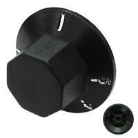 SARO CONTROL KNOB BLACK PLASTIC AA006-16 50mm DIAMETER 6mm x 4.6mm D SHAFT