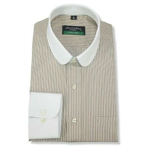 Club collar Bankers shirt Brown White stripes Gents White collar Easy Iron Penny