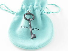 Tiffany & Co NEW Key Oval Black Titanium Pendant Charm 4 Necklace / Bracelet