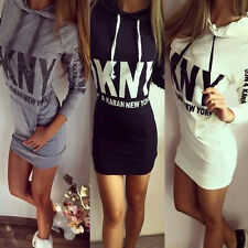 Womens Letter Floral Hooded Hoody Sweatshirt Dress Ladies Bodycon Hoodies Dress