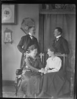 German Post WWI 3 1/2 x 4 1/2 Inch Glass Negative of a Candid Photo of 2 Couples