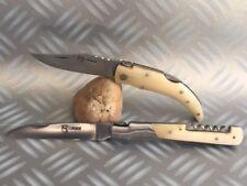 2 Couteaux de poche Berger & Vendetta Corsica avec leur manche os blanc (buffle)