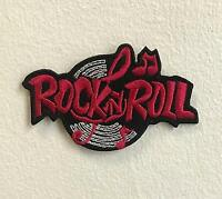Rock n Roll Music Art Badge Red Iron on Sew on Embroidered Patch