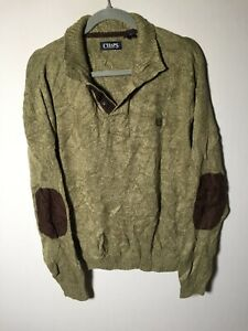 Chaps Ralph Lauren mens green cotton knit jumper size L long sleeve good condt