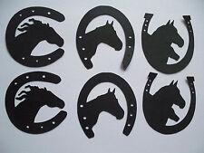 9 BLACK HORSESHOES PLUS BLACK HORSES SILHOUETTES LUCKY 2 job lot