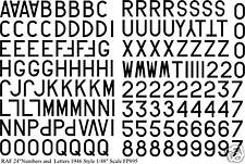 """RAF Numbers & Letters 24"""" 1/48 water slide transfer decals for 1946- BLACK FP895"""