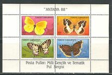 BUTTERFLY ON TURKEY 1988 Scott 2424a, SOUVENIR SHEET,  MNH