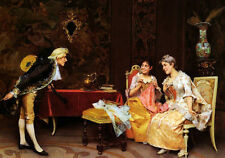 Oil painting Adriano Cecchi - Taking A Bow gentleman holding a Guitar with girls