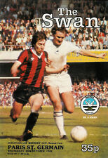 SWANSEA CITY v PARIS St GERMAIN 20 OCT 1982 PROGRAMME EUROPEAN CUP WINNERS RND 2