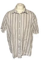 Ben Sherman Men's Casual Shirt Grey Striped Size 4 Extra Large XL Short Sleeve