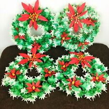 """4 Vintage Plastic Christmas Wreaths Holly Poinsettia Lot Green Red White 10.5"""""""