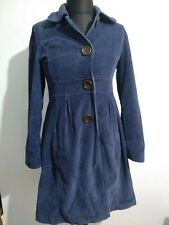 BODEN Blue Jumbo Cord Big Button Fitted Smock Coat Size 10 Peacoat