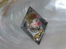 Estate Handmade Margie Signed Diamond Shaped Mirrow with Porcelain Lady Head Pin