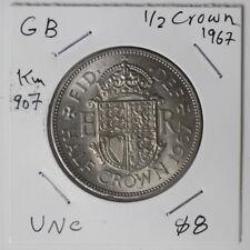 UK Great Britain Shilling 1/2 (half) Crown 1967 UNC (ME5Y411)