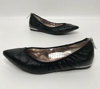 Donald J Pliner DS XM Womens Black Leather Heel Zip Pointed Toe Flats Size 6.5 M