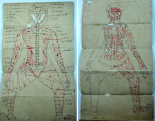 ANTIQUE SIAMESE THAI ILLUSTRATED MANUSCRIPT MASSAGE ACUPRESSURE MEDICINE 1850