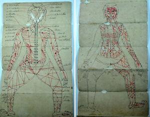 ANTIQUE SIAMESE THAI ILLUSTRATED MANUSCRIPT MASSAGE ACUPRESSURE MEDICINE 1850
