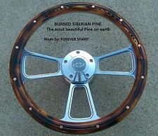 Burned Pine steering wheel w/ boss 69-93 Chevy GM Jeep Ididit Flaming Rivr Dodg-