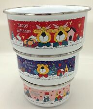 Enamelware Alaw Thailand Metal Christmas Bowls Set 3 Nesting Snowman Moose