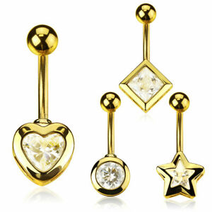 Belly Button Piercing Crystal Banana Gold Stud Navel Plated