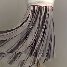 CHANEL Cream/Red/Black Striped Silk Baby Doll Dress Size FR38/8UK Rare!