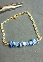 Lapis lazuli Bar Bracelet, with gold plated chain 7 1/2 inches Womens jewelry