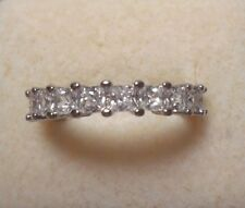 Eternity Ring Natural White Sapphire Size 6.50 Princess 925 Sterling Silver #314