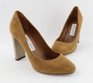 Jimmy Choo NWD Women's Tan Suede Round Toe Pump Heel Shoe Size 37.5 7.5