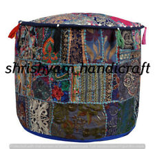 "22"" Vintage Handmade Floral Patchwork Ottoman Stool Khambhadia Pouf Cover Boho"