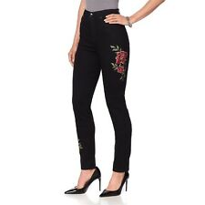DG2 Diane Gilman Stretch Embroidered Skinny Jean flat BLACK MERLOT 8 NEW 560-497