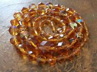 Art Deco Vintage Czech Amber Color Faceted Glass Graduated Beaded Long Necklace