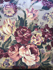 Upholstery Fabric Tan with Bold Berry Red Pink Green Yellow Floral BTY x 56w