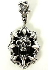 SKULL MONSTER CLAW STERLING 925 SILVER OVAL PENDANT NEW