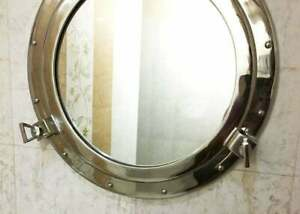 """20"""" Nickel plated canal boat porthole-window ship round mirror wall decorative"""