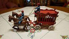 Vintage Cast Iron Overland Circus Wagon w Polar Bear Horses 3 Men