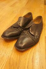 Black Leather Cap Toe Oxford Dress Shoes Miguel Angel 10.5  M Basket weave