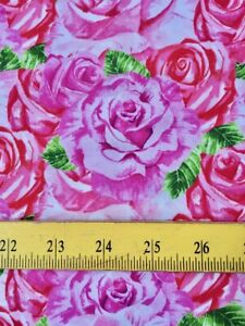 SALE Henry Glass Fabrics Heart & Soul Roses Lavender Red & Pinks 1/2 Yard