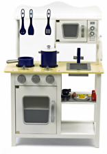 Wooden Toy Kitchen With Accessories in White
