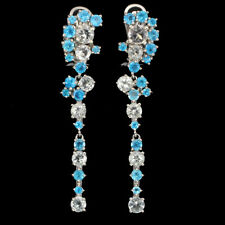 Unheated Round Aquamarine Apatite White Gold Plate 925 Sterling Silver Earrings