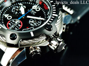 Invicta Men's 52mm BOLT SWISS Chrono BLACK COMPASS DIAL Silver/Black Tone Watch